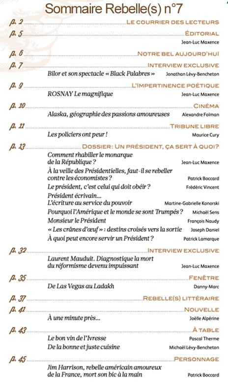 Sommaire Rebelle(s) Mag n°7